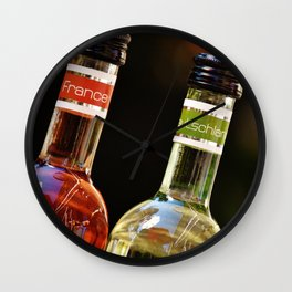 France Germany Spain Bottles of Wine Wall Clock
