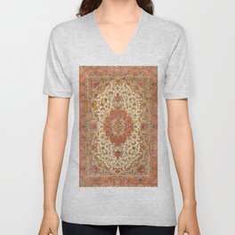 Persia Tabriz 19th Century Authentic Colorful Dusty Tan Red Blush Vintage Patterns Unisex V-Neck