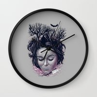 laura palmer Wall Clocks featuring Laura by Jorge Garza