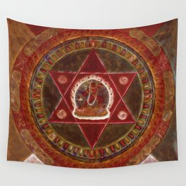 Vajrayogini stands in the center of two crossed red triangles Wall Tapestry