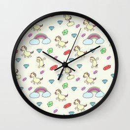 Unicorn print, unicorn nursery, unicorn background Wall Clock