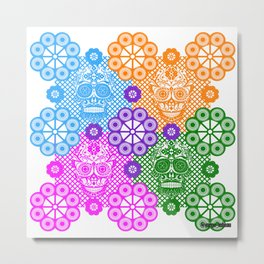 deadly mexican skull picnic pattern ecopop Metal Print