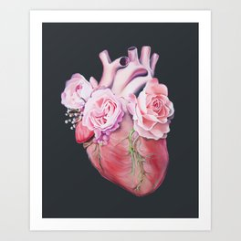 Floral Heart II Anatomy Art Art Print