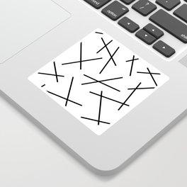 Black and white mikado stripes dash pattern Sticker