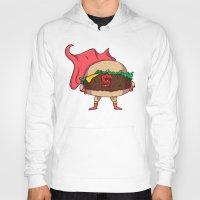 hamburger Hoodies featuring Hamburger Heroes by Chris Piascik