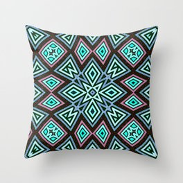 Aztec Geometric Mandala | Aqua Pink Throw Pillow