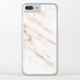 Rose Quartz Foil on Real White Marble Clear iPhone Case