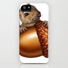 Funny Squirrel Holding An oak tree Acorn iPhone Case