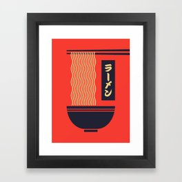 Ramen Japanese Food Noodle Bowl Chopsticks - Red Framed Art Print