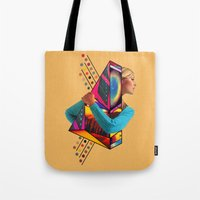 stockholm Tote Bags featuring Stockholm Syndrome by Eugenia Loli
