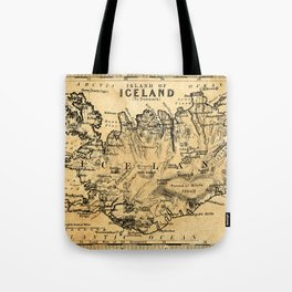 Old Map of Iceland Tote Bag