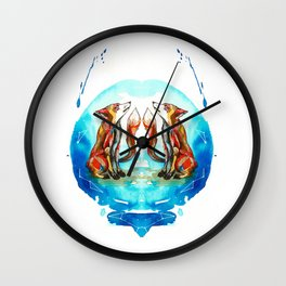 Star-crossed fox Wall Clock