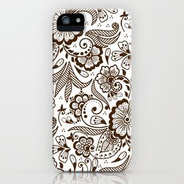 Mehndi or Henna Flowers and Leaves iPhone Case