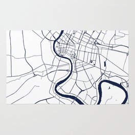 Bangkok Thailand Minimal Street Map - Navy Blue and White Rug
