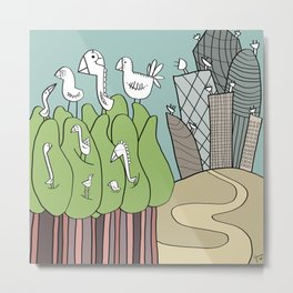 Birds and Antennas Metal Print