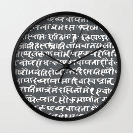 Sanskrit // Shuttle Grey Wall Clock