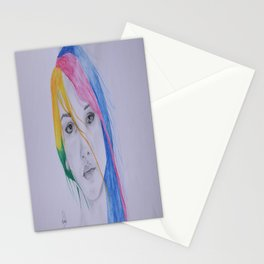 The girl with rainbow hair Stationery Cards
