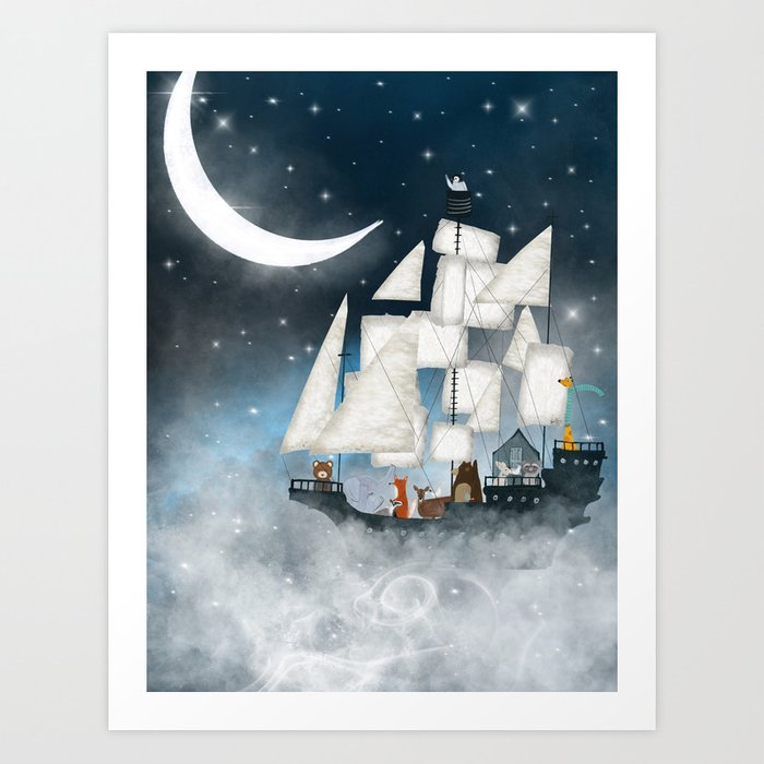 a nautical adventure (above the clouds) Art Print