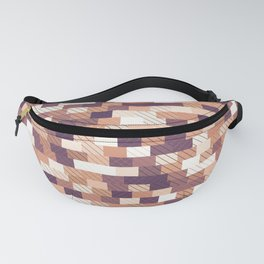 Solid brick wall with diagonal crossed lines, redwod and eggplant colored print Fanny Pack