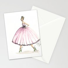 Sweet Pink Dress Watercolor Dress Stationery Cards
