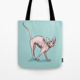 Playful Sphynx Cat Arching Its Back - Wrinkly Nude Kitty - Robins Egg Blue Background Tote Bag