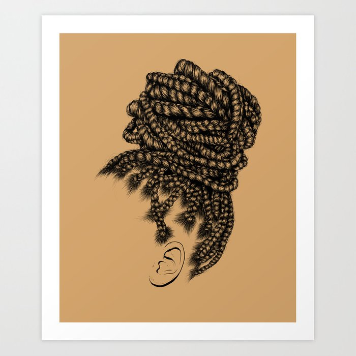 Crown Box Braid Bun Art Print By Gaksdesigns Society6