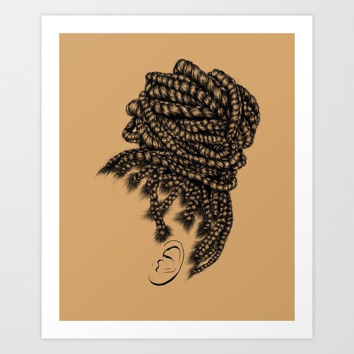 Crown: Box Braid Bun Art Print