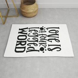 Love Is A Four Legged Word - Funny Dog and Cat Lover humor - Cute typography - Lovely quotes illustration Rug