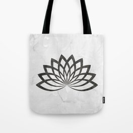 Gray Marble With A Black Lotus Tote Bag