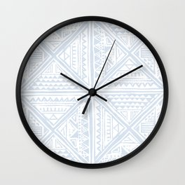 Simply Tribal Tile in Sky Blue on Lunar Gray Wall Clock