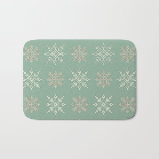 Snowflakes Cross Stitch Pattern (Mint) Bath Mat