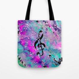 Artistic neon pink teal black watercolor classical music note Tote Bag