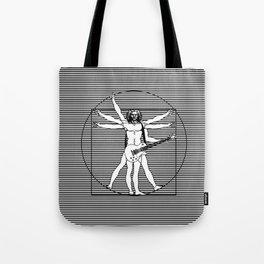 Vitruvian man - Les Paul guitar playing D-Chord (version with strips) Tote Bag