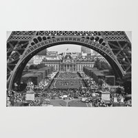 eiffel tower Area & Throw Rugs featuring eiffel tower by AnnaGo