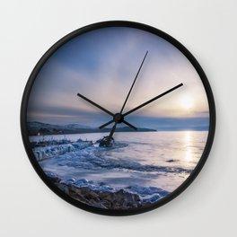 Abandoned ship at frozen wharf Wall Clock