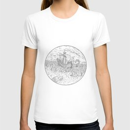 Tall Ship Turbulent Sea Serpents Black and White Drawing T-shirt