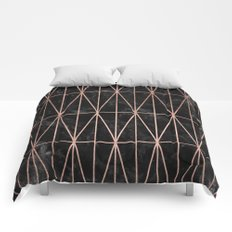 Modern geometric triangles faux rose gold pattern on black marble Comforters