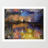 fireworks Art Prints featuring Fireworks by Michael Creese