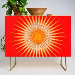 Vibrant Red Sun Mandala Credenza