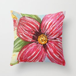 Happy Bright Pink Flower Throw Pillow