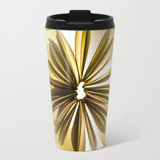 Retro Shiny Flowers Metal Travel Mug