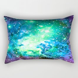Fox Fur Nebula BRIGHT : Green Blue Purple Galaxy Rectangular Pillow