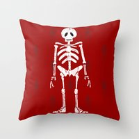 skeleton Throw Pillows featuring Skeleton by Emma Harckham