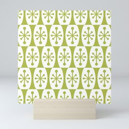 Mid Century Modern Atomic Fusion Pattern Chartreuse Mini Art Print