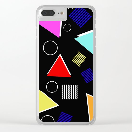 Fun Retro - Triangles, rings and waves patterned design, blue, red, purple, pink, yellow Clear iPhone Case