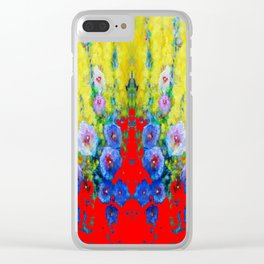 BLUE HOLLYHOCKS YELLOW & RED GARDEN MODERN ART Clear iPhone Case