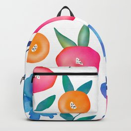 Bright Colorful Watercolor Spring Flower Pattern  Backpack
