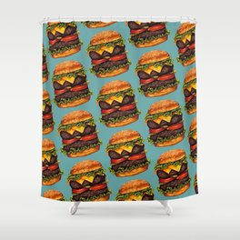 Double Cheeseburger Pattern Shower Curtain