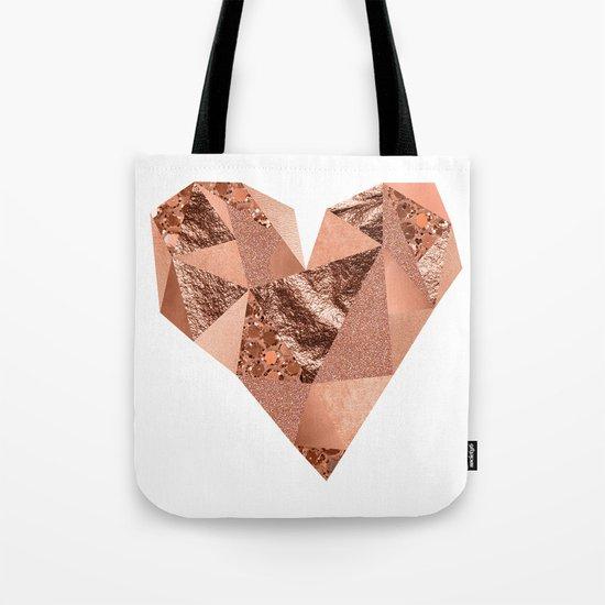 Rose gold geometric heart - glitter & foil Tote Bag