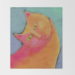 Yellow Cat Abstract Digital Painting  Throw Blanket